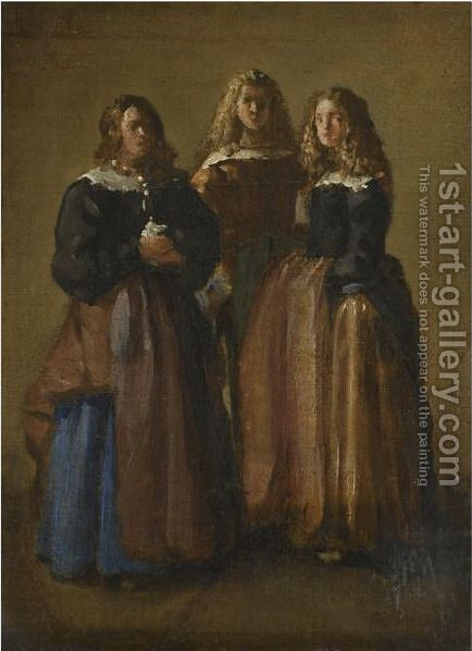 Three Majas by (after) Juan Bautista Martinez Del Mazo - Reproduction Oil Painting