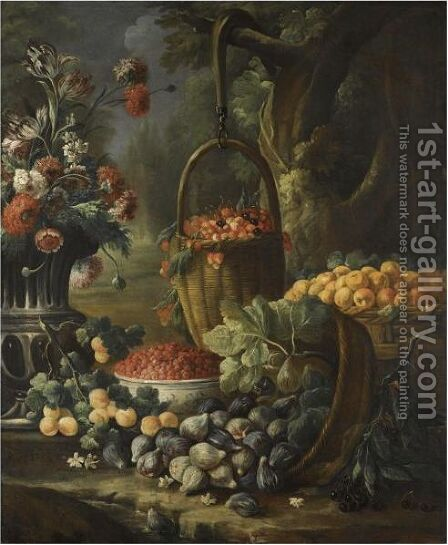 An Upturned Basket Of Figs, Together With Apricots, Other Fruit And Flowers In A Landscape Setting by Baldassare de Caro - Reproduction Oil Painting