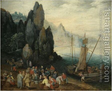 A Rocky Coastal Landscape With Fishermen Unloading Their Catch, Craggy Mountains Beyond by (after) Jan The Elder Brueghel - Reproduction Oil Painting