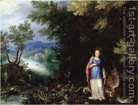 Saint Margaret And The Dragon In An Extensive River Landscape by Jan The Elder Brueghel - Reproduction Oil Painting