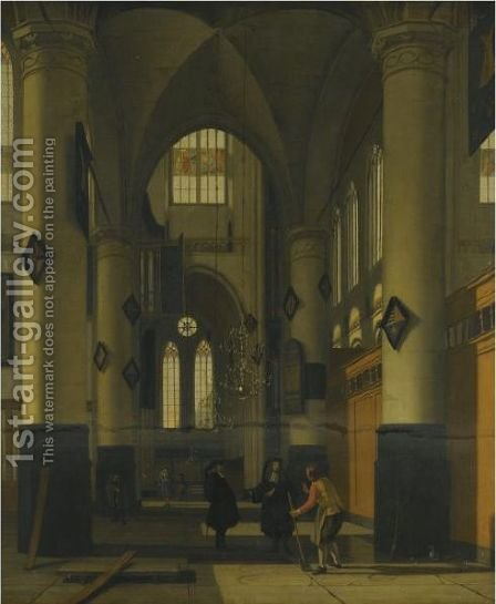 The Interior Of A Protestant Gothic Church, With Elements Of Both The Oude Kerk And Nieuwe Kerk, Amsterdam by Hendrick Van Vliet - Reproduction Oil Painting