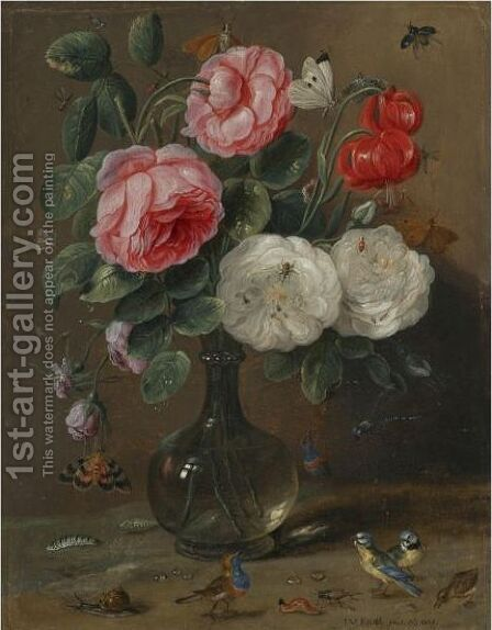 Still Life Of Roses In A Glass Vase With Numerous Insects, Including Butterflies by Jan van Kessel - Reproduction Oil Painting