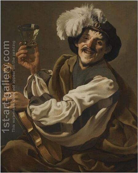 A Jovial Violinist Holding A Glass Of Wine by Hendrick Terbrugghen - Reproduction Oil Painting
