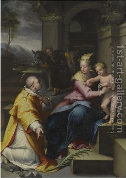 The Holy Family With Saint Stephen by Denys Calvaert - Reproduction Oil Painting