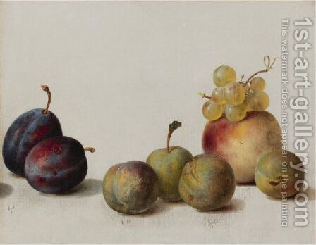 Still Life Plums, Peach And Grapes by Helen Searle Pattison - Reproduction Oil Painting
