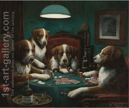 The Poker Game by Cassius Marcellus Coolidge - Reproduction Oil Painting