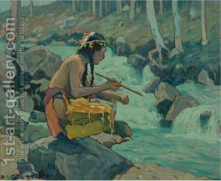 Indian By A Stream by Eanger Irving Couse - Reproduction Oil Painting
