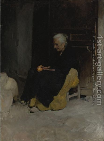 Old Woman Peeling An Orange (Lunch, Elche, Spain) by Edward Emerson Simmons - Reproduction Oil Painting
