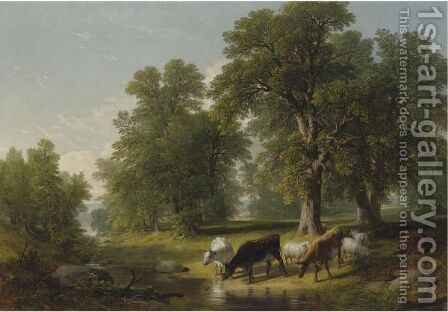 A Summer Afternoon by Asher Brown Durand - Reproduction Oil Painting