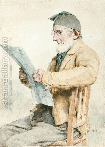 Farmer From Ins Reading The Newspaper by Albert Anker - Reproduction Oil Painting