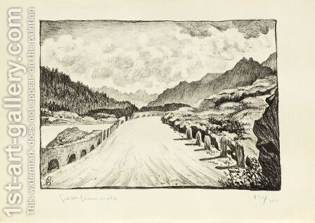 Street To Maloja Along Lake Sils, 1928 by Giovanni Giacometti - Reproduction Oil Painting