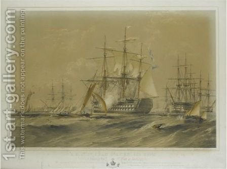 H. M. S. St. Jean D'Acre, 101 Guns by (after) Sir Oswald Walters Brierly - Reproduction Oil Painting