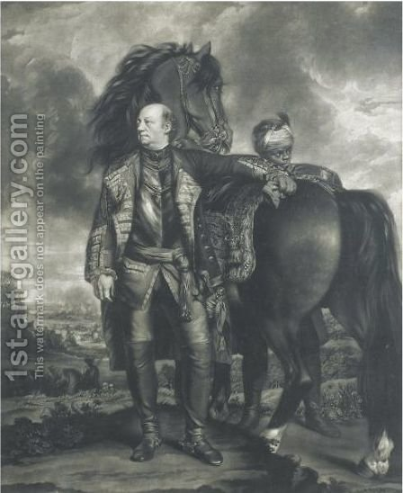 The Honourable John Manners, Marquis Of Granby, Standing Before His Horse by (after) Sir Joshua Reynolds - Reproduction Oil Painting