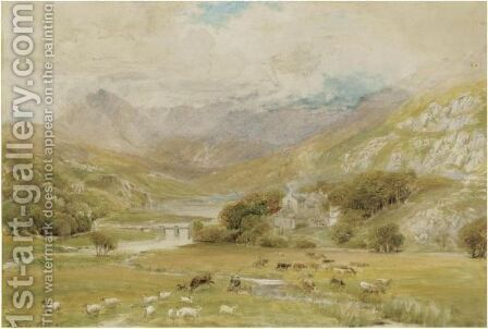 Approaching Storm At Mymbyr Lakes, Capel Curig, Wales by Ebenezer Wake Cook - Reproduction Oil Painting