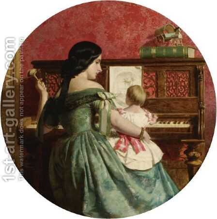 The First Piano Lesson 2 by Charles West Cope - Reproduction Oil Painting