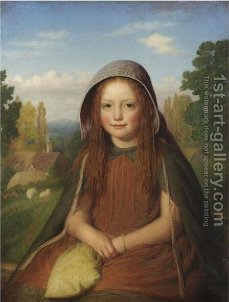A Country Lass by Edward Thompson Davis - Reproduction Oil Painting