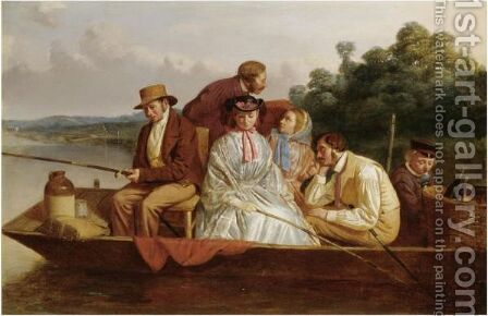 An Angling Party by Matthew James Lawless - Reproduction Oil Painting