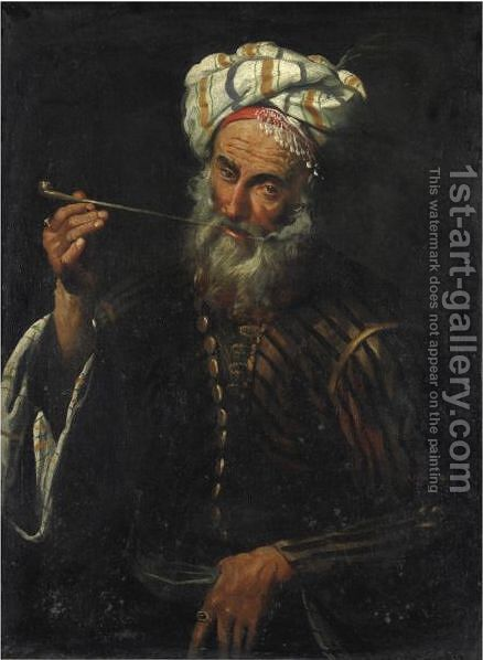 Ritratto Di Orientale Che Fuma Una Pipa by (after) Pier Francesco Mola - Reproduction Oil Painting