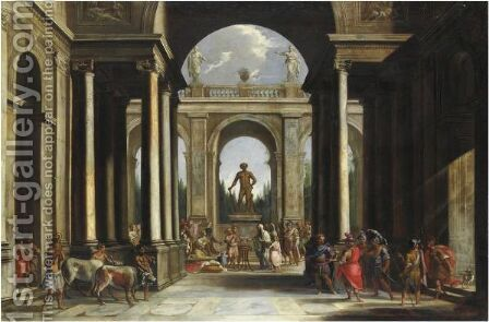 Capriccio Architettonico Con Sacrificio Pagano by Alberto Carlieri - Reproduction Oil Painting