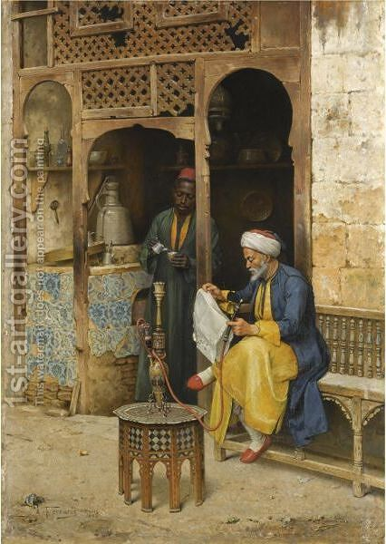 The Coffee House, Cairo by Arthur von Ferraris - Reproduction Oil Painting