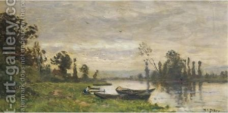 Barques Et Lavandieres Au Bord De L'Eau by Hippolyte Camille Delpy - Reproduction Oil Painting
