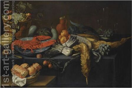 Still Life With Asparagus, Artichokes, A Melon, Pomegranates, And Other Fruit In A Basket by Antwerp School - Reproduction Oil Painting