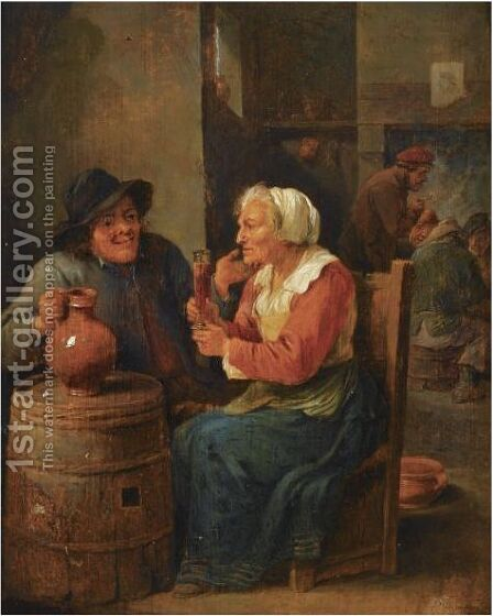 An Interior Scene With A Man And An Elderly Woman Seated Around A Barrel Drinking by David The Younger Teniers - Reproduction Oil Painting
