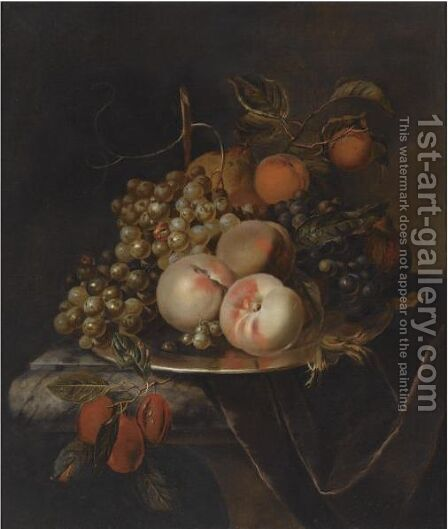 A Still Life Of Blue And White Grapes, Peaches, Plums, A Pear And A Pomegranate, All On A Pewter Platter by Heroman Van Der Mijn - Reproduction Oil Painting