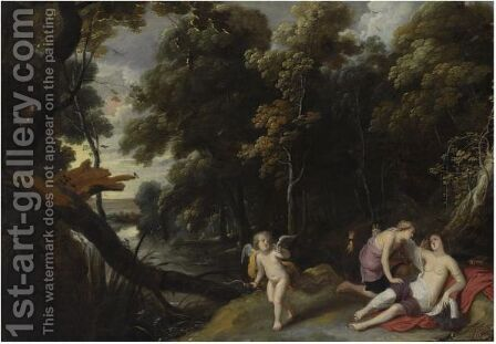 A Forest Landscape With Jupiter, Disguised As Diana, Bending Over The Reclining Callisto, An Eagle And Cupid Nearby by (after) Frans Wouters - Reproduction Oil Painting
