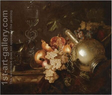 A Still Life Of Pomegranates, Grapes, A Silver Vessel, A Roemer And A Venetian Glass On A Marble Table Draped With A Cloth by Barend or Bernardus van der Meer - Reproduction Oil Painting