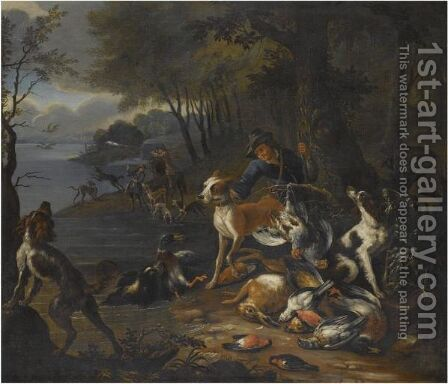A Wooded Landscape With Huntsmen And Their Hounds On The Banks Of A Lake by Adriaen de Gryef - Reproduction Oil Painting