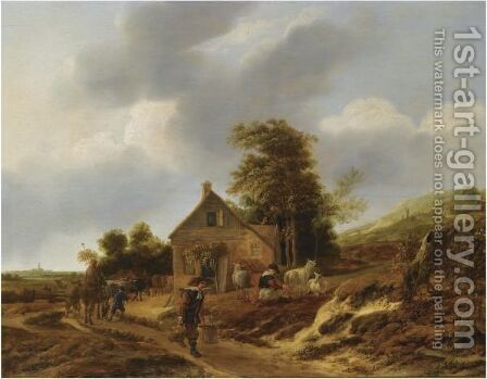A Dune Landscape With A Peasant Woman Milking Sheep Outside A Farmhouse by Jan Baptist Wolfaerts - Reproduction Oil Painting