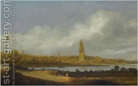 An Extensive River Landscape With A View Of Rhenen, Figures Resting In The Foreground by (after) Jan De The Younger Vos - Reproduction Oil Painting