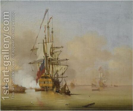 A Small English Man-O' War Firing A Salute With Small Boats Nearby by Cornelis van de Velde - Reproduction Oil Painting