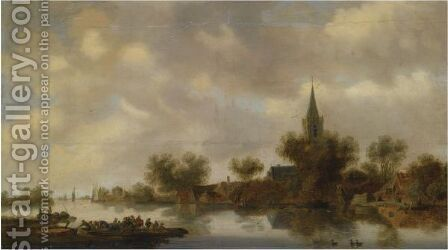 An Extensive River Landscape With Figures In A Ferry Boat, Other Shipping On The River by (after)  Jan Van Goyen - Reproduction Oil Painting