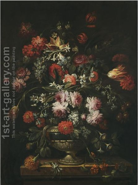 A Still Life Of Roses, Carnations, Tulips, Peonies, Morning Glory And Other Flowers In A Sculpted Vase On A Marble Pedestal by (after) Felice Fortunato Biggi: - Reproduction Oil Painting