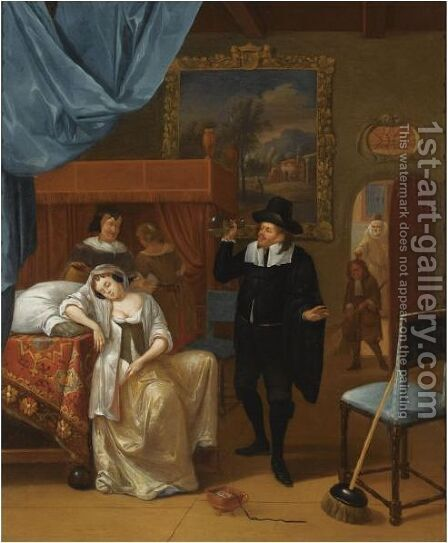 A Bedroom Interior With An Ill Lady And A Doctor, Other Figures In The Background by Hendrick Carre - Reproduction Oil Painting