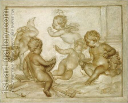 Five Putti Representing An Allegory Of The Arts by (after) Martinus Josephus Geeraerts - Reproduction Oil Painting