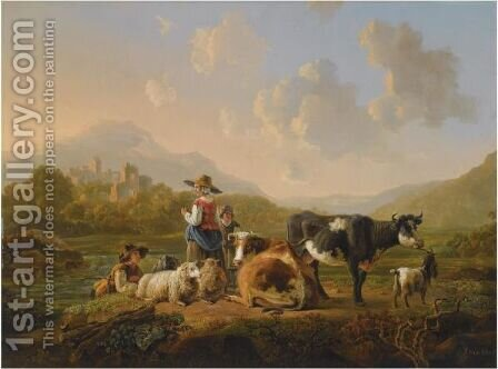 A Southern Hilly Landscape With Shepherds Resting With Their Herd, A View Of Ruins Beyond by Jacob van Strij - Reproduction Oil Painting