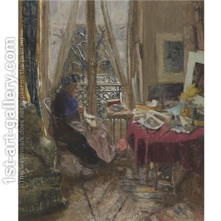 Madame Vuillard Un Jour De Neige by Edouard  (Jean-Edouard) Vuillard - Reproduction Oil Painting