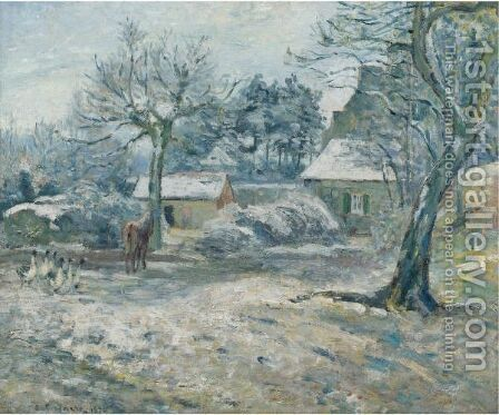 Ferme A Montfoucault, Neige by Camille Pissarro - Reproduction Oil Painting