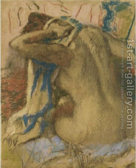 Femme S'Essuyant Les Cheveux by Edgar Degas - Reproduction Oil Painting