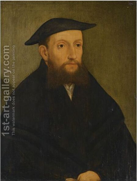 Portrait Of A Bearded Gentleman, Half Length, Wearing A Black Coat And Hat by (after) George Pencz - Reproduction Oil Painting