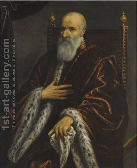 A Portrait Of A Bearded Venetian Senator by (after) Jacopo Tintoretto (Robusti) - Reproduction Oil Painting