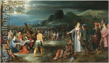 Christ And Saint Veronica On The Way To Calvary by (after) Frans II Francken - Reproduction Oil Painting