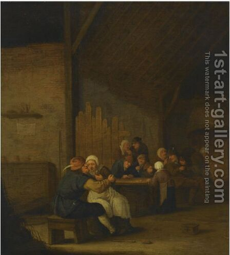 A Tavern Scene With Peasants Drinking And Smoking by Bartholomeus Molenaer - Reproduction Oil Painting