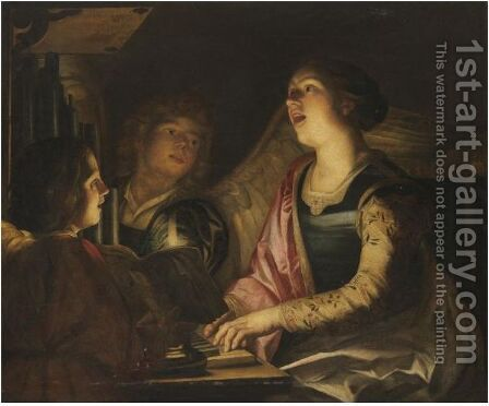 Saint Cecilia, Seated At The Organ With Choral Singers by (after) Honthorst, Gerrit van - Reproduction Oil Painting