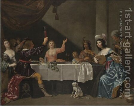 An Interior Scene With Musicians And Elegant Figures Dining by (after) Jan Van Bijlert - Reproduction Oil Painting