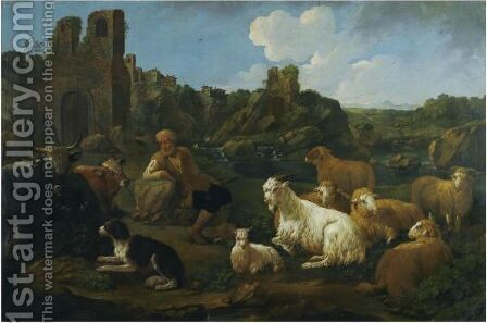 A Landscape With A Herder, Cattle, Sheep And A Dog In The Foreground by Jakob Roos (Rosa Da Napoli) - Reproduction Oil Painting