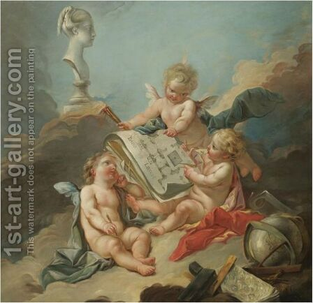 An Allegory Of The Fine Arts by (after) Francois Boucher - Reproduction Oil Painting
